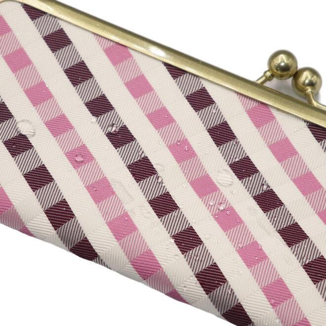 西陣織マスクケース 格子柄ピンク 撥水イメージ
