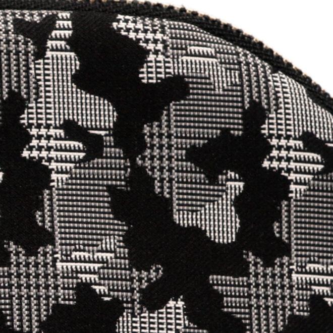 西陣織シルク・シェル型ポーチ・京組紐引手・迷彩グレンチェック・ブラック迷彩・生地拡大