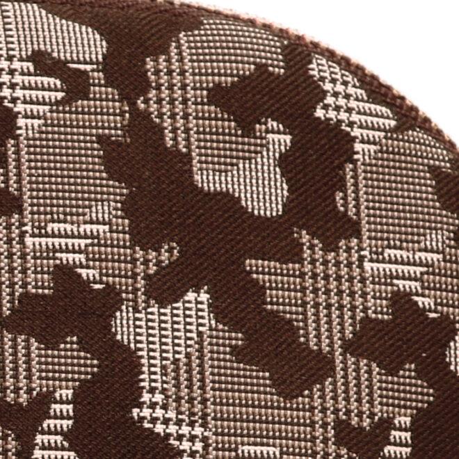 西陣織シルク・シェル型ポーチ・京組紐引手・迷彩グレンチェック・ブラウン迷彩・生地拡大