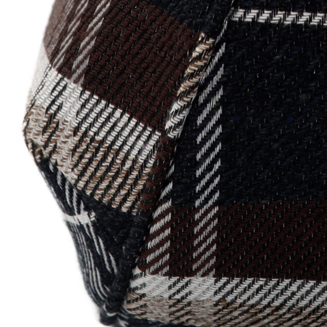 撥水加工・西陣織シルクネップ・がまぐちポシェット・メランジチェック・チャコールブラック・パイピング縫い拡大