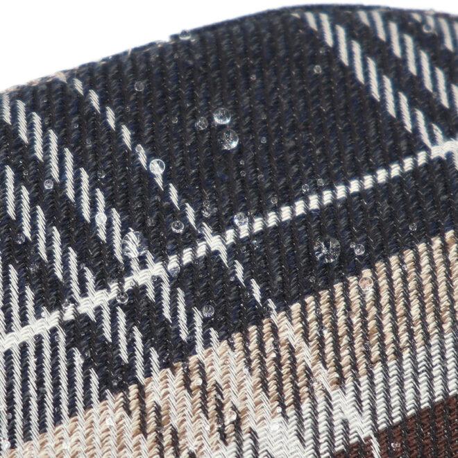 撥水加工・西陣織シルクネップ・がまぐちポシェット・メランジチェック・撥水イメージ
