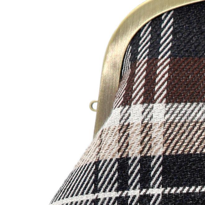 撥水加工・西陣織シルクネップ・がまぐちポシェット・メランジチェック・チャコールブラック・ストラップホール