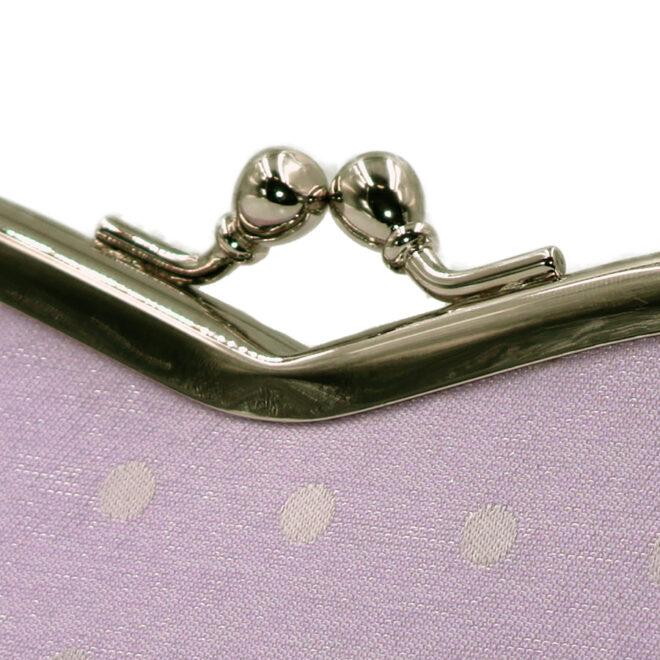 西陣織シルク×艶やかナイロン・山型眼鏡ケース・水玉・スパークリングラベンダー・がまぐち部分