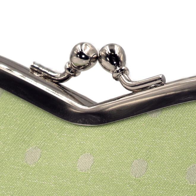 西陣織シルク×艶やかナイロン・山型眼鏡ケース・水玉・スパークリングマスカット・がまぐち部分