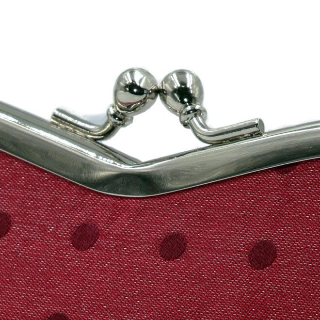西陣織シルク×艶やかナイロン・山型眼鏡ケース・水玉・スパークリングレッド・がまぐち部分