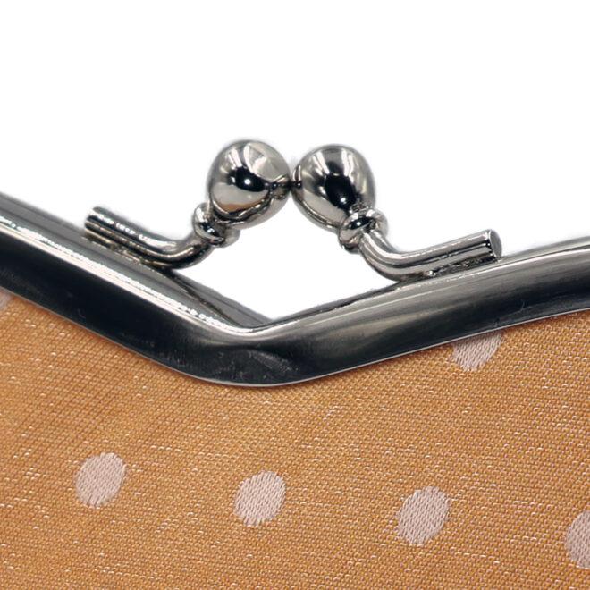 西陣織シルク×艶やかナイロン・山型眼鏡ケース・水玉・スパークリングオレンジ・がまぐち部分