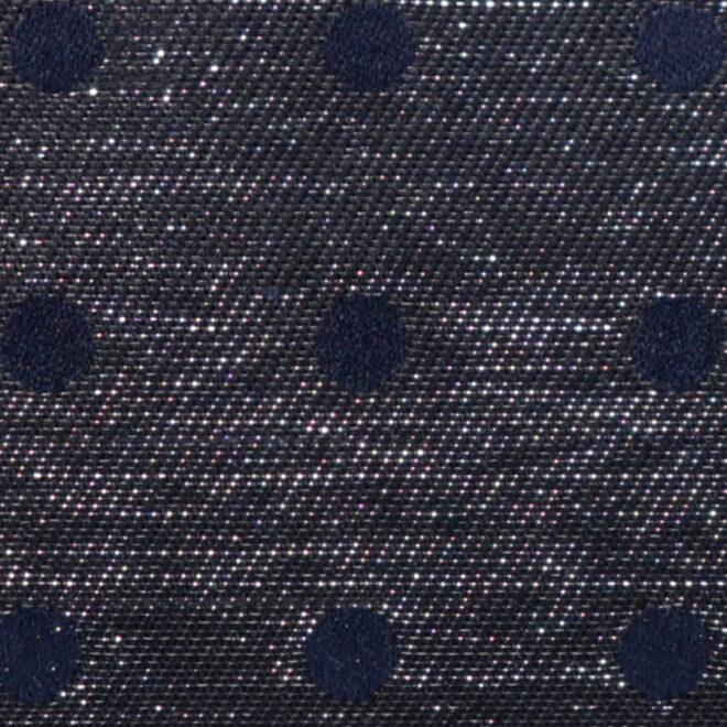 西陣織シルク×艶やかナイロン・山型眼鏡ケース・水玉・スパークリングネイビー・生地拡大