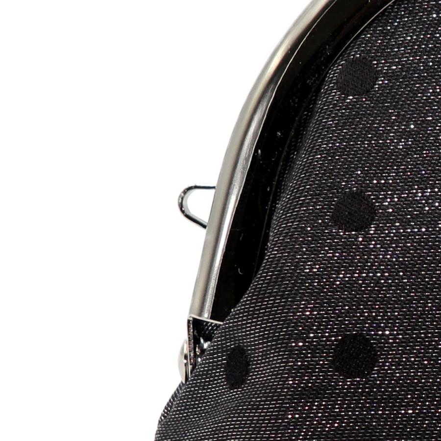 西陣織シルク×艶やかナイロン・山型眼鏡ケース・水玉・スパークリングブラック・ストラップホール