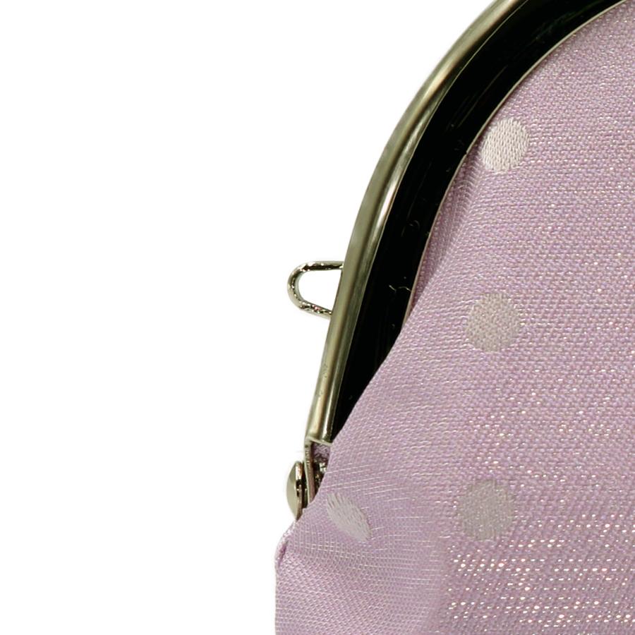 西陣織シルク×艶やかナイロン・山型眼鏡ケース・水玉・スパークリングラベンダー・ストラップホール
