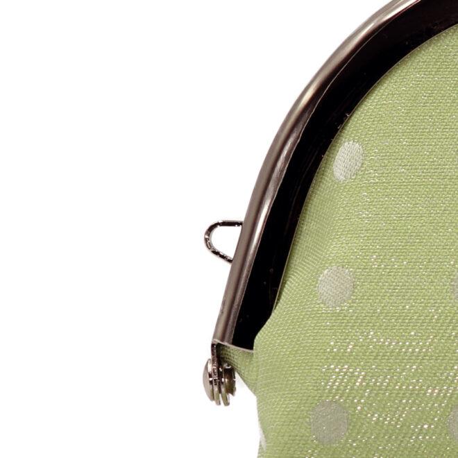 西陣織シルク×艶やかナイロン・山型眼鏡ケース・水玉・スパークリングマスカット・ストラップホール