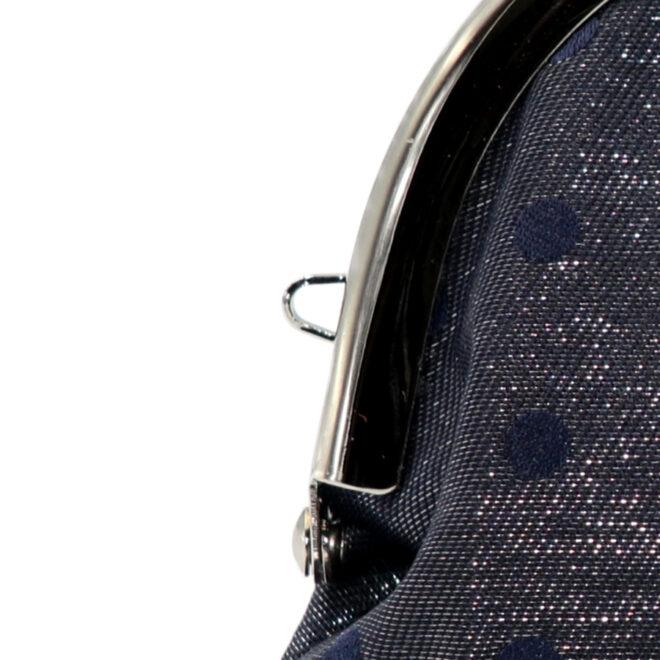 西陣織シルク×艶やかナイロン・山型眼鏡ケース・水玉・スパークリングネイビー・ストラップホール