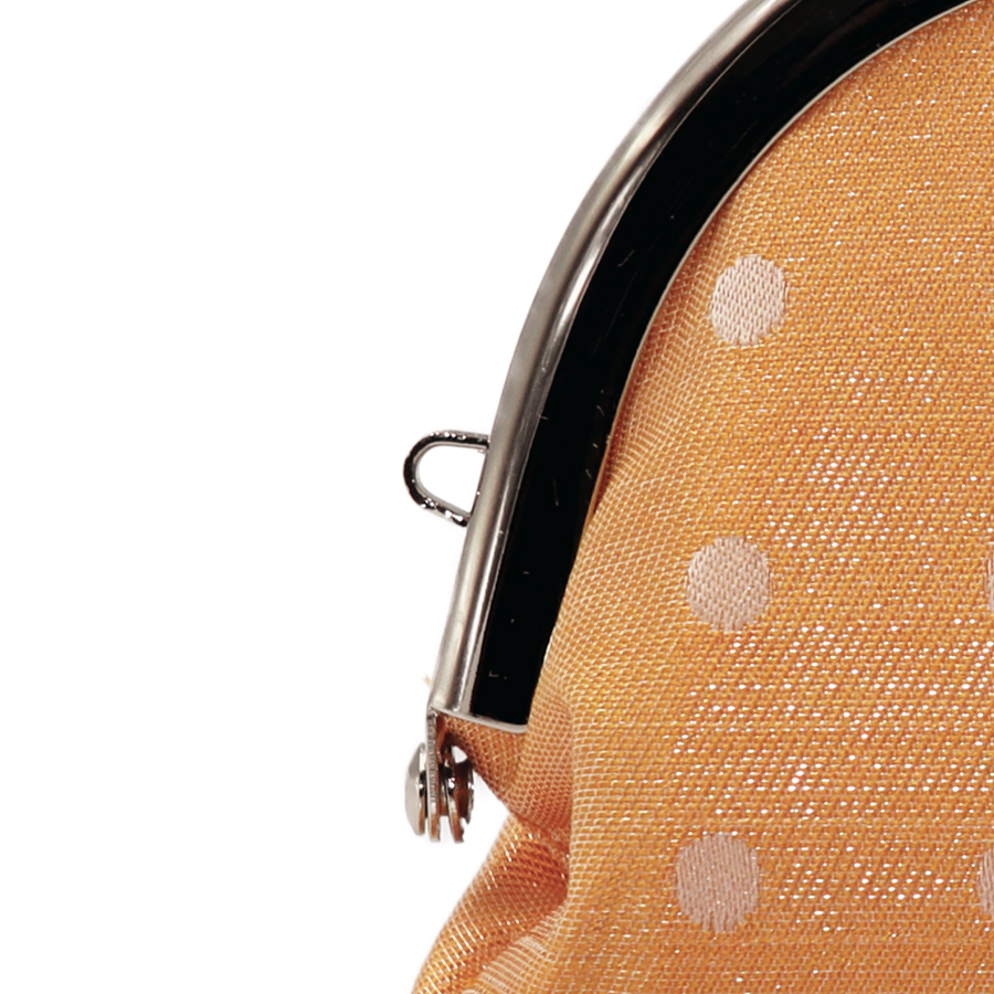 西陣織シルク×艶やかナイロン・山型眼鏡ケース・水玉・スパークリングオレンジ・ストラップホール