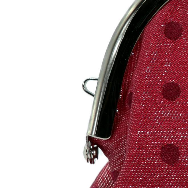 西陣織シルク×艶やかナイロン・山型眼鏡ケース・水玉・スパークリングレッド・ストラップホール